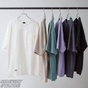 【2021春夏新作】ユニセックス 無地 ポケット付き 半袖Tシャツ