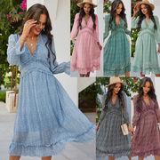 レディースファッション 春夏 人気商品 Vネック シンプル ワンピース スカート