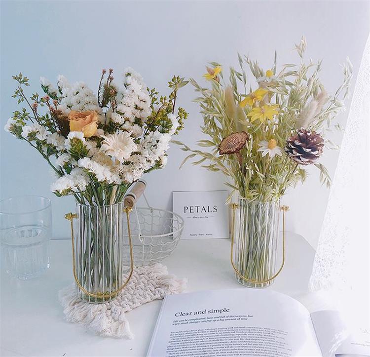 北欧スタイル バラ 洗練された 忘れな草 ジプソフィラ ドライフラワー ブーケ 花瓶 リビングルーム