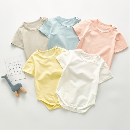 2021年 夏 新作 子供 快適 純色 純綿 半袖 ベビー服  全5色