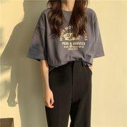 2021夏 新作   韓系  シンプル アルファベット プリント  ゆったり  半袖 ファッション  Tシャツ