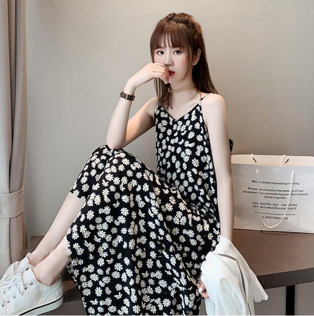 花柄 キャミワンピース 夏服 韓国スタイル マキシ レディースファッション スカート