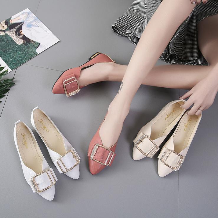パンプス 新作 ローヒール ぺたんこシューズ ポインテッドトゥ レジャー 韓国スタイル シューズ 靴