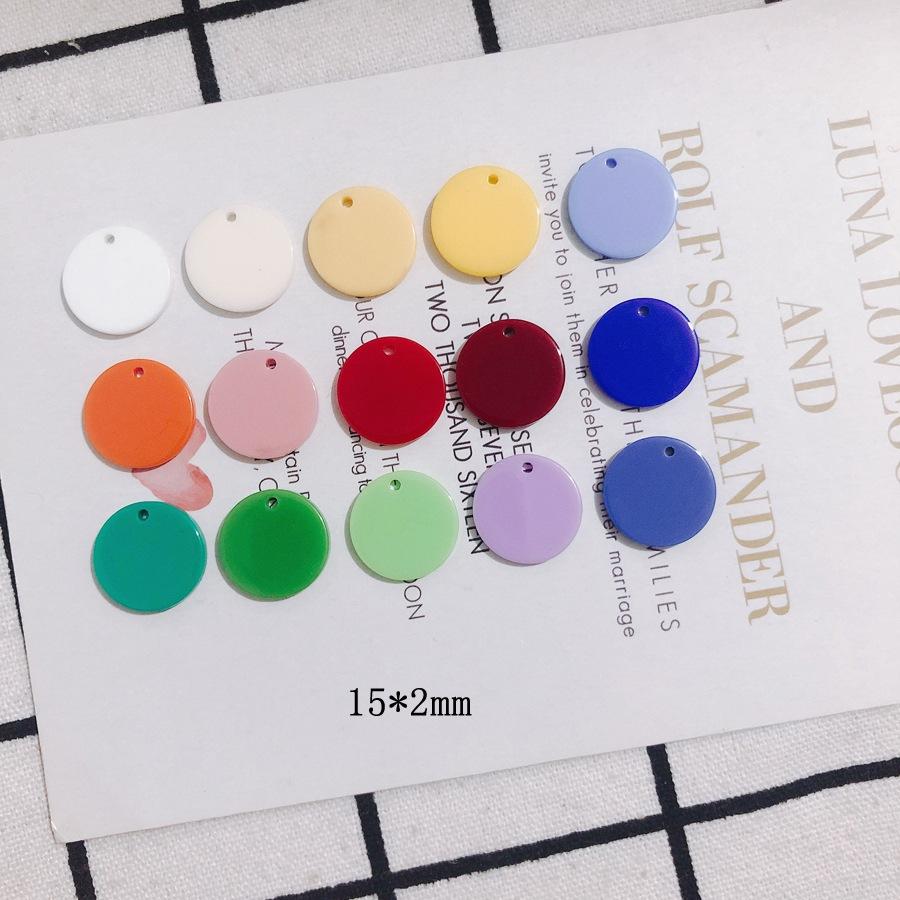 アクセサリーパーツ カラーパーツ DIY 素材 ハンドメイド デコパーツ アクリルチャーム 通し穴 プレート