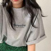 レディース シンプル Tシャツ メッセージ プリント デザイン ティーシャツ 半袖Tシャツ 春夏