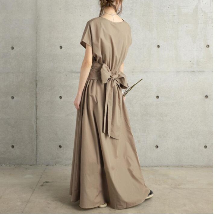 韓国ファッション 2021年春夏新作レディース服 体型カバーワンピース 蝶結び