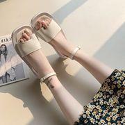 厚底 羅 サンダル 女 新しいデザイン 掛け金黒 スクエアヘッド 足指シークレット 女靴