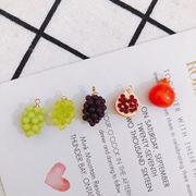 アクセサリーパーツ ブドウの実 石榴 ザクロ ハンドメイド デコパーツ ぶどう フルーツ 丸環付き 手作り