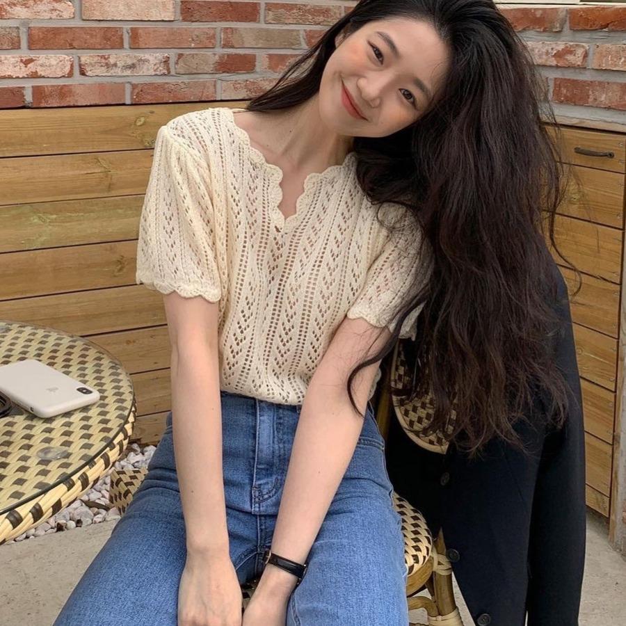 韓国 春夏 半袖 ブラウス 透け感ニット