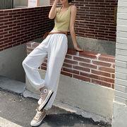 韓国ファッション レディース ストレッチ ハイウエスト スウェット