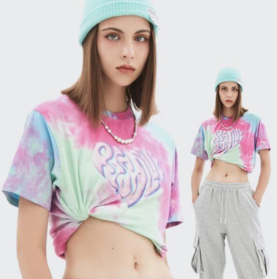 u18124 バーカー  オーバー  Tシャツ hiphop  ダンス トップス 春夏新作 レディース