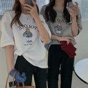 韓国ファッション オーバーサイズデザインTシャツ 熊