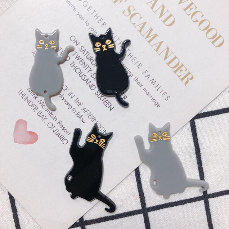 アクセサリーパーツ 猫 ハンドメイド アクリル パーツ 招き猫 手芸 ねこ ネコ グレー ブラック ピアス用品