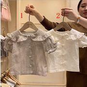 韓国子供服 アパレル★女の子キッズ服★赤ちゃん着半袖tシャツ★チェック柄ブラウス