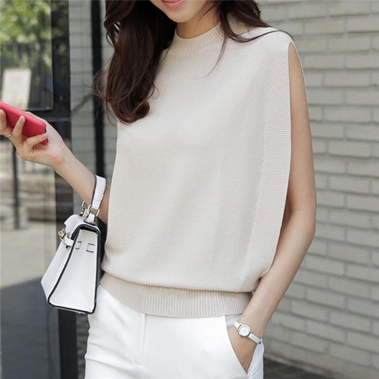 【圧倒的な真実好評】韓国ファッション タンクトップ  ラウンドネック ピュアカラー 袖なし ニット