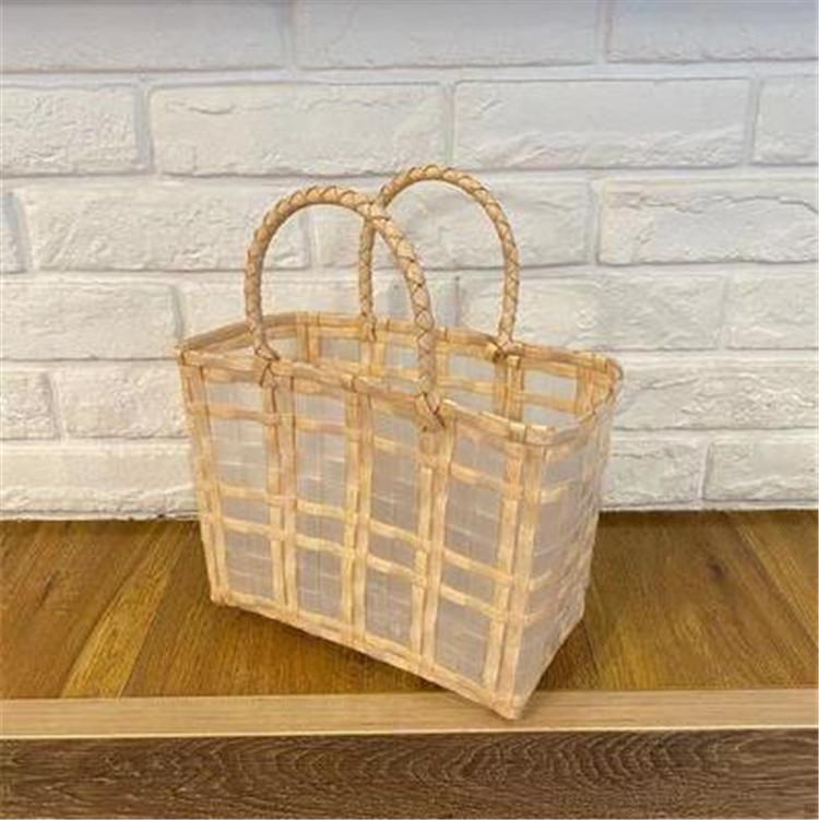 大人カジュアルを楽しむ INSスタイル クリア 野菜バスケット 織りバッグ ビーチ 大容量 ハンドバッグ