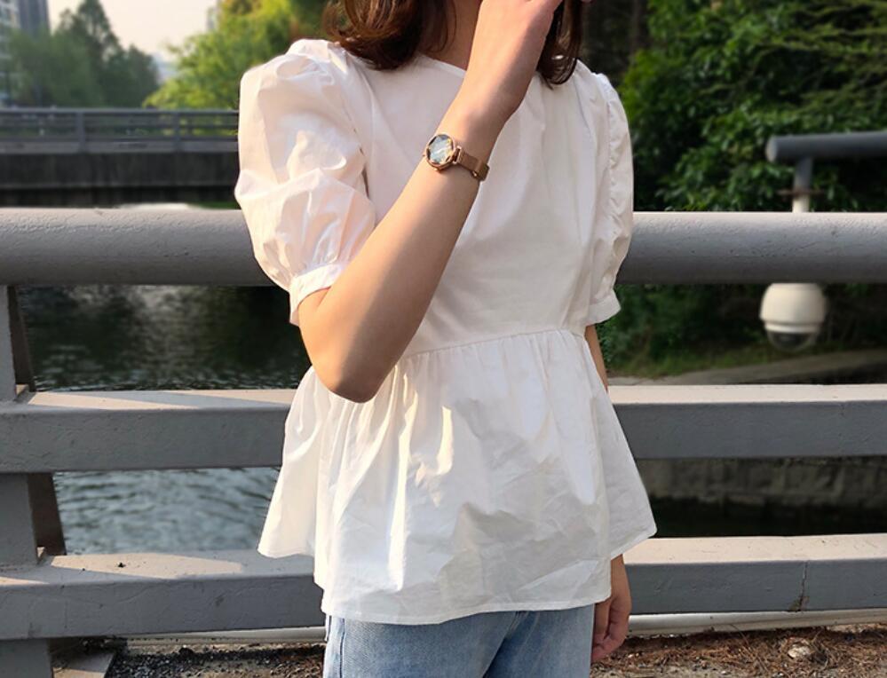 2021年夏新作 レディース 韓国風 シャツ パフスリーブ 半袖 無地 かわいい 3色M-XXL
