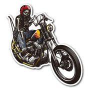 バイカーステッカー BIKER STICKER バイク ハーレー ヘルメット スカル&バイク RIGHT 骸骨 ドクロ BK016