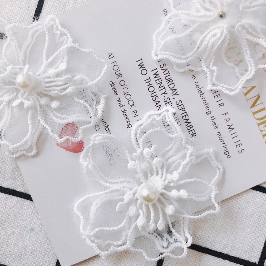 光沢フラワーモチーフ パール付きレース アクセサリーパーツ お花レースパーツ パール付き花 手芸用