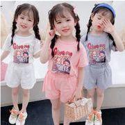 韓国子供服 人気 キャラクター プリント 半袖 tシャツ+半ズボン2点セット3色★80-130cm