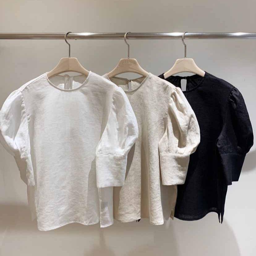 2021年春夏新作 韓国風 レディース シャツ パフスリーブ 通勤  上品 OL ファッション 3色S-XL