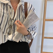 韓国 韓国ファッション レディース クール ストライプ シャツ
