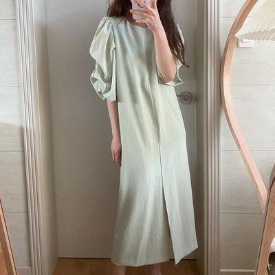 2021年夏新作 レディース 韓国風 ワンピース パフスリーブ 気質 高級感 ファッション フリー