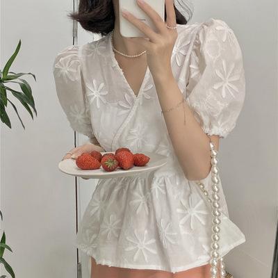2021年春夏新作 レディース 韓国風 シャツ vネック 刺繍 シフョン 通勤 ファッション フリー
