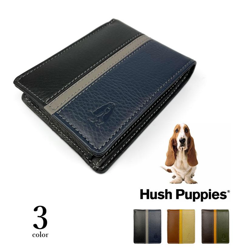 全3色 Hush Puppies ハッシュパピー リアルレザー トリコロールカラー 二つ折り財布