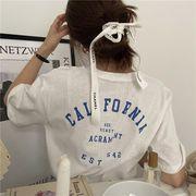 韓国 韓国ファッション カジュアル Tシャツ バックプリント 半袖 英字 ワンポイント シンプル