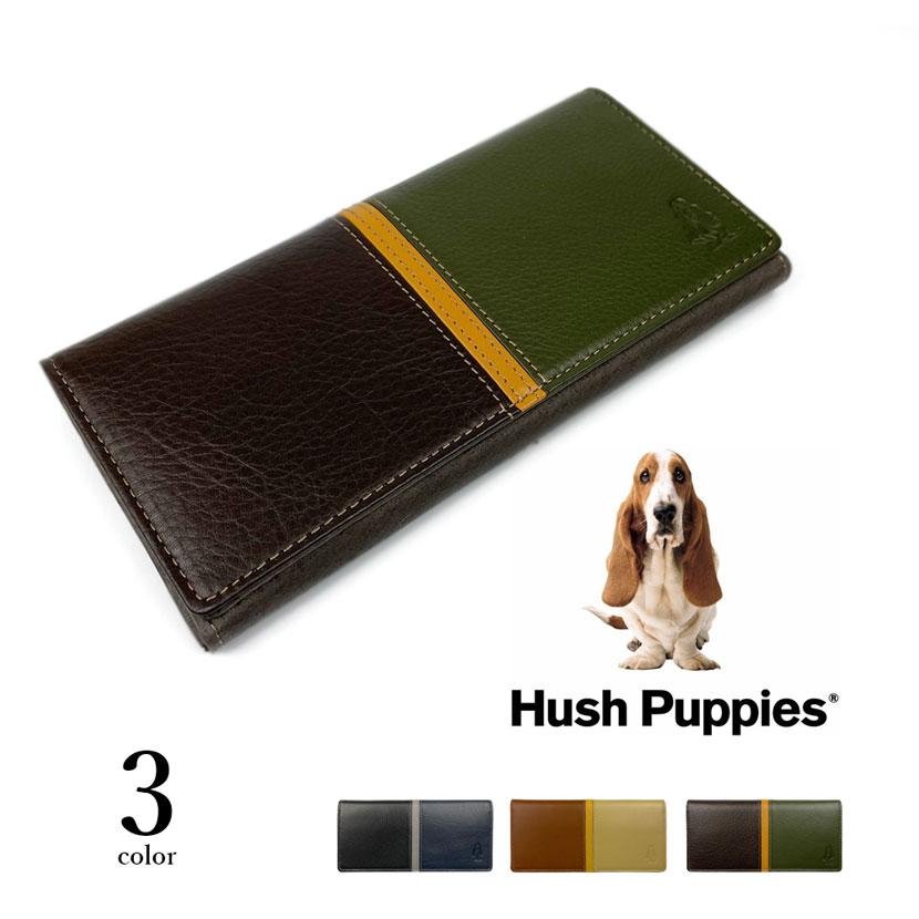 全3色 Hush Puppies ハッシュパピー リアルレザー トリコロールカラー かぶせ 長財布