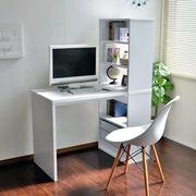 パソコンデスク 書棚付き 105幅 ホワイト L字型 学習机 書斎机
