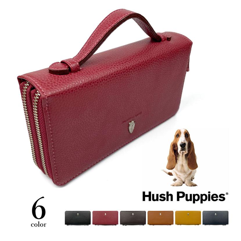 全6色 Hush Puppies ハッシュパピー リアルレザー ダブル ラウンドファスナー 長財布