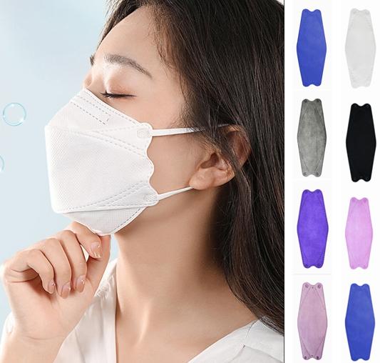 3D 高品質 4層マスク マスク 韓国 口紅がつきにくい 柳葉型 不織布マスク 魚型 使い捨てマスク