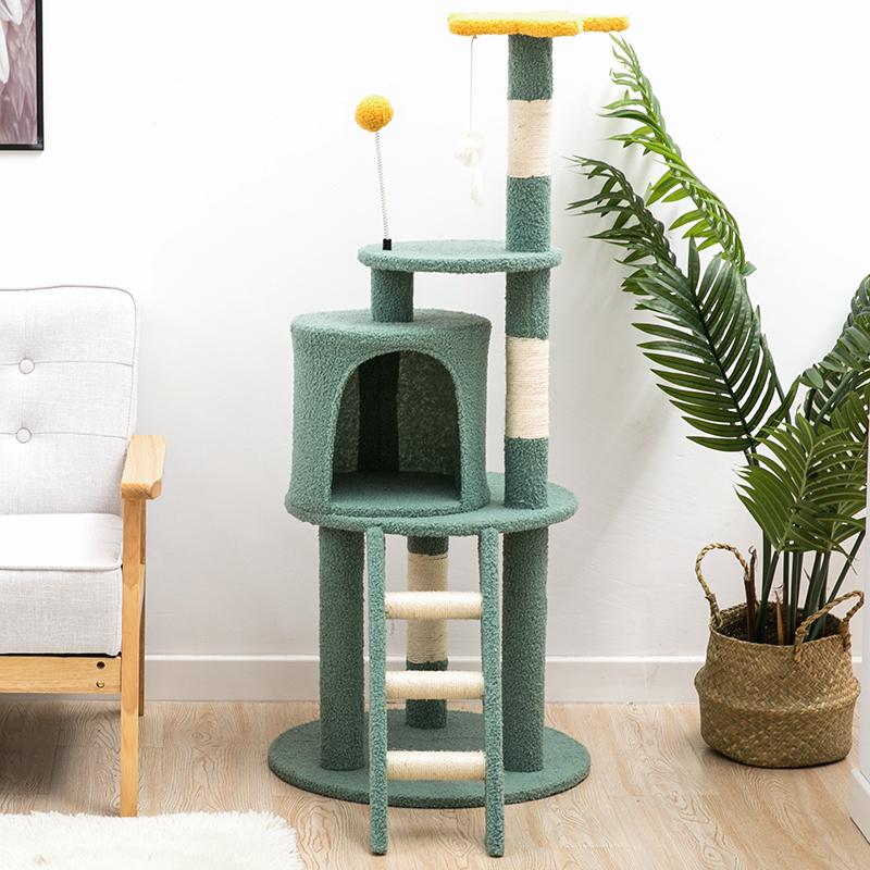 キャットタワー 猫タワー 省スペース コンパクト かわいい 小型 ペット用品 爪とぎ ポーラーフリース生地