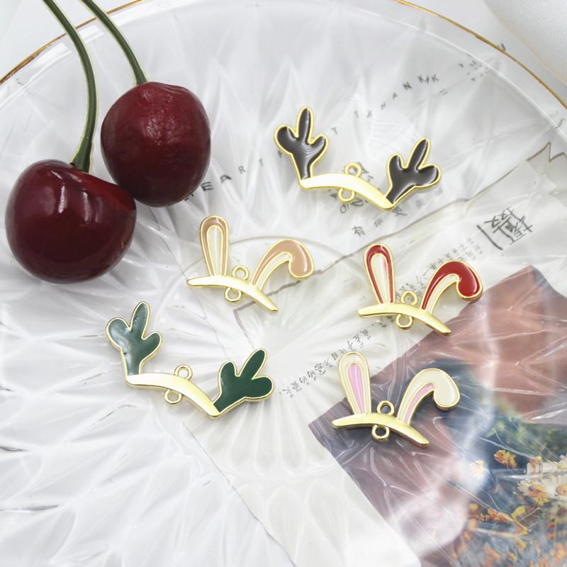 ユニーク メタル ラビット ウサギ うさぎ耳キャップ ネックレス ペンダント アクセサリーパーツ 材料 2カン