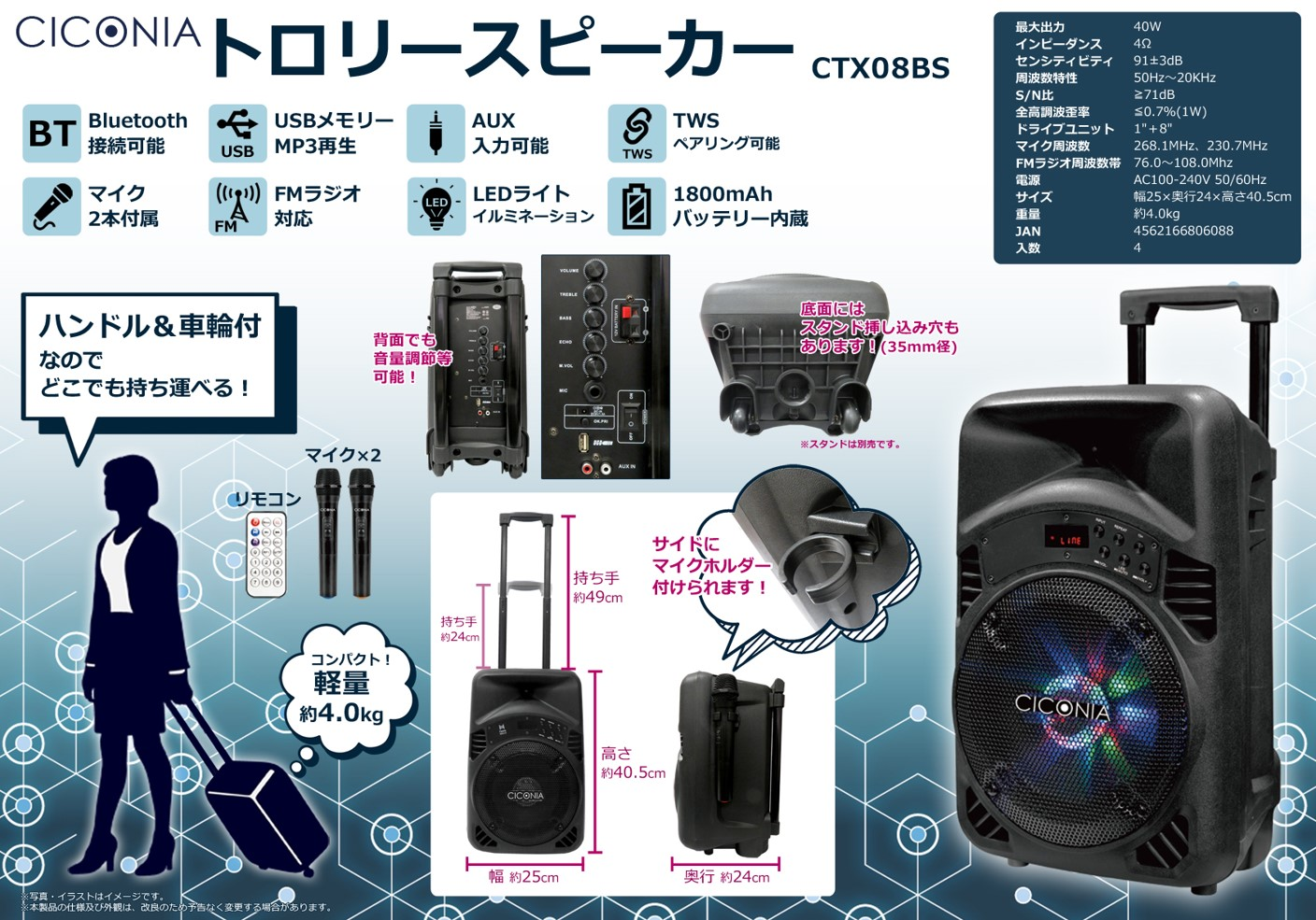 CICONIA トロリースピーカー CTX08BS