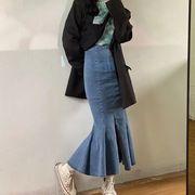 新作 ロングスカート デニムスカート マーメイドスカート 秋冬 レディース 韓国ファッション