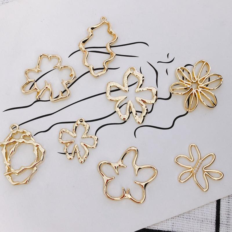 イヤリング金具 手芸材料 資材 フラワー 手作り デコパーツ 花 アクセサリーパーツ 透かしチャーム 通し穴