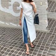 Tシャツ レディーストップス 2021夏新作 韓国風 ラウンドネック ロングTシャツ ファッション
