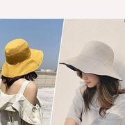 日よけ 紫外線対策 ハット UVカット 帽子 レディース 折りたたみ 無地 つば広 uv 熱中症