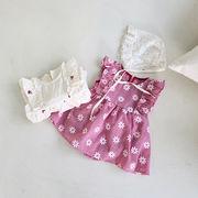 【KID】韓国風子供服  ベビー服 フレア付きワンピース 花柄ロンパース 女の子 ノースリーブ