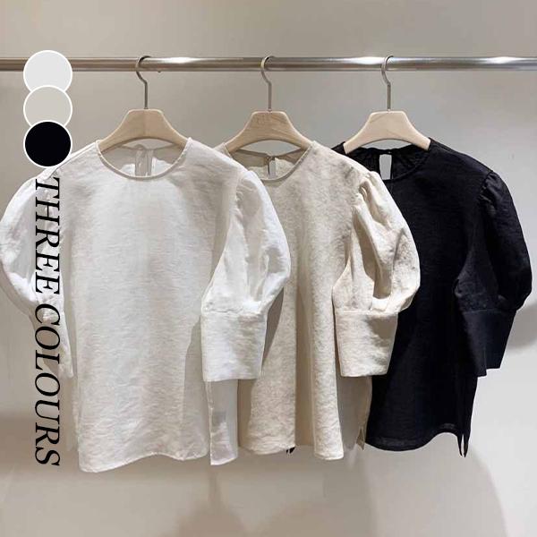 【Women】2021年春夏新作 韓国風レディース服 ピュアカラー スリミング パフスリーブ シャツ