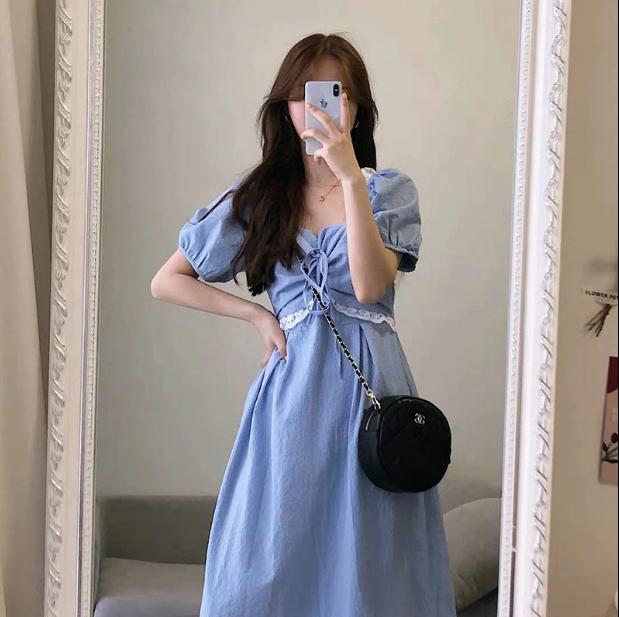 きれいめ派のスタッフが選ぶ マキシ 夏 スクエアネック ワンピース 韓国ファッション レディース