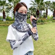 UVカット 夏マスク 日焼け防止 フェイスマスク 冷感 フェイスガード 自転車 登山 男女 運転冷感袖+マスク