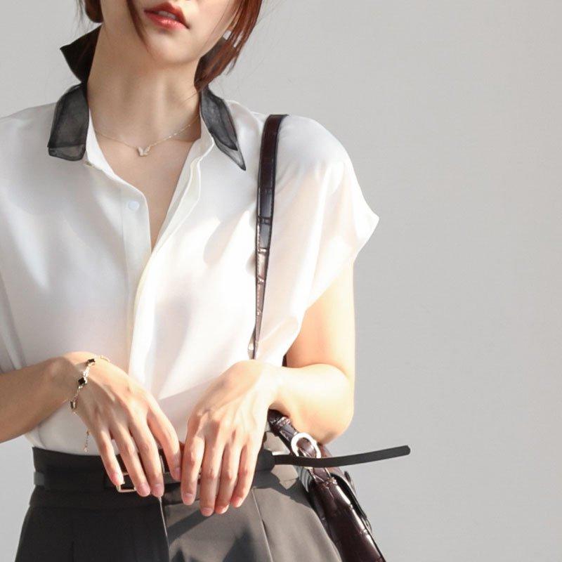ブラウス レディース 夏 シャツブラウス オフィス 半袖 無地 夏 韓国風 シフォン 折襟 トップス
