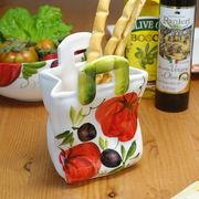 イタリア製 レモン柄  陶器製 バスケット ペーパバッグ 型 カトラリー スタンド  スプーンスタンド