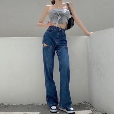 穴あき 女性のジーンズ 夏 薄いスタイル ハイウエストワイドパンツ 新しいデザイン 設計