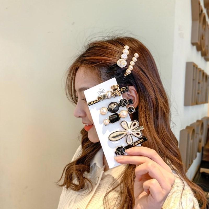 ヒットカラーメタルパールヘアピンサイドベアクリップ韓国前髪クリップインネット赤毛アクセサリー妖精