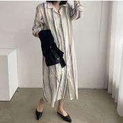 気質★ 新作 縞模様 シャツ スカート レディースファッション ワンピース 韓国風★ ファッション